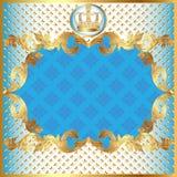 Blauwe achtergrond voor uitnodigings gouden patroon Stock Fotografie