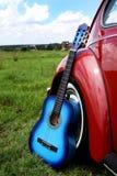 Blauwe Akoestische Gitaar Stock Foto