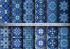Blauwe Arabesque-Patronen Royalty-vrije Stock Afbeelding