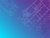 Blauwe architecturale horizontale achtergrond Stock Foto's