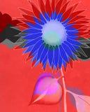 Blauwe artistieke zonnebloem op rood Royalty-vrije Stock Fotografie