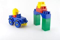 Blauwe auto - mechanisch plastic stuk speelgoed Royalty-vrije Stock Afbeelding