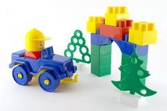 Blauwe auto - mechanisch plastic stuk speelgoed Royalty-vrije Stock Afbeeldingen