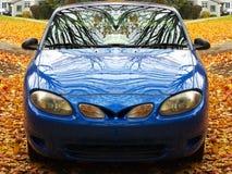 Blauwe auto op esdoornbladeren Stock Foto's