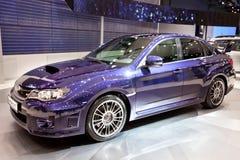 Blauwe auto Subaru Impreza WRX Stock Afbeelding