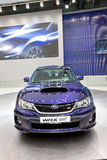 Blauwe auto Subaru Impreza WRX Royalty-vrije Stock Foto's