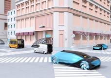 Blauwe autonome sedan, gele bus en leveringsbestelwagen het drijven op kruising stock illustratie