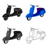 Blauwe autoped met twee wielen Vervoer voor zich het bewegen rond de stad Vervoer enig pictogram in het vectorsymbool van de beel Stock Foto's