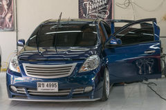 Blauwe autowas Stock Fotografie