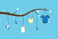 Blauwe babydouche Stock Afbeelding