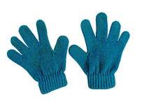 Blauwe babyhandschoenen Stock Afbeelding