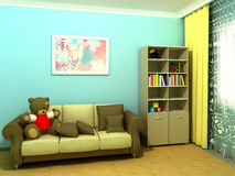 Blauwe babyroom (childroom) Royalty-vrije Stock Foto
