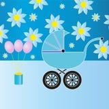 Blauwe babywandelwagen stock illustratie