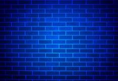 Blauwe Bakstenen muur met Zachte Schijnwerper Royalty-vrije Stock Afbeelding