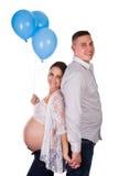 Blauwe ballons voor zwangere vrouw Royalty-vrije Stock Foto