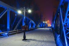 Blauwe Bals-brug bij nacht Stock Foto's