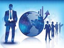 Blauwe bedrijfs en technologieachtergrond Royalty-vrije Stock Afbeeldingen