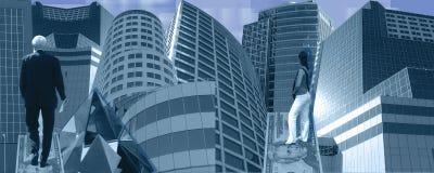 Blauwe bedrijfsbanner Stock Afbeelding
