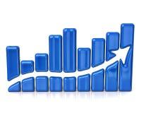 Blauwe bedrijfsgrafiek Stock Foto
