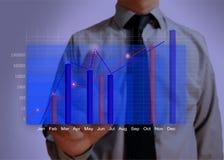 Blauwe bedrijfsgrafiek die de groei dicht tonen Royalty-vrije Stock Afbeelding