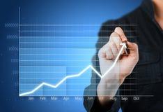 Blauwe bedrijfsgrafiek die de groei tonen Stock Afbeelding