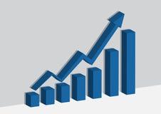 Blauwe bedrijfsgrafiek of grafiek op de muur en sheader de schaduw Stock Foto's