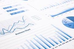 Blauwe bedrijfsgrafieken, grafieken, statistiek en rapporten Royalty-vrije Stock Afbeeldingen