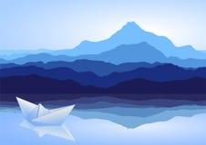 Blauwe bergen, meer en document schip vector illustratie