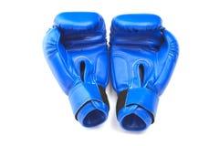Blauwe beschermende handschoenen Stock Fotografie