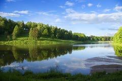 Blauwe bezinning in rivier bij de zomerbos Stock Foto