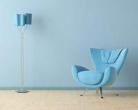 Blauwe binnenlandse ontwerpscène Stock Afbeeldingen