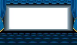 Blauwe bioskoopzaal Royalty-vrije Stock Fotografie
