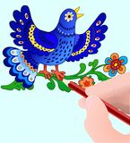 Blauwe bird& tekeningshand Stock Fotografie