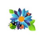 Blauwe bloem met lieveheersbeestjes stock illustratie