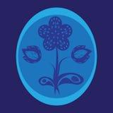 Blauwe bloem met ornament Stock Afbeelding