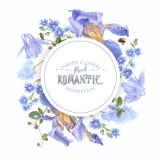 Blauwe bloem om banner Stock Afbeeldingen