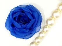 Blauwe bloem van met de hand gemaakte stof stock foto's