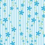Blauwe Bloemen en Lijnen Naadloze Pattern_eps Royalty-vrije Stock Foto's