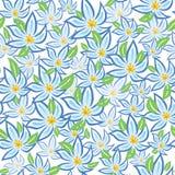 Blauwe bloemen met groene bladeren Installatiesornament Stock Foto's