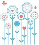 Blauwe bloemen met vlinders Royalty-vrije Stock Afbeeldingen