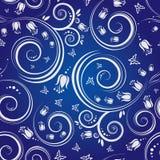 Blauwe Bloemen Naadloze achtergrond stock illustratie