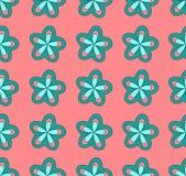 Blauwe bloemen op een roze achtergrond, Illustratie a royalty-vrije stock fotografie