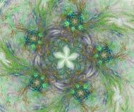 Blauwe bloemen op groene achtergrond Stock Foto's