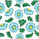 Blauwe bloemen op witte achtergrond. Stock Afbeelding