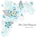 Blauwe bloemenachtergrond Stock Afbeelding