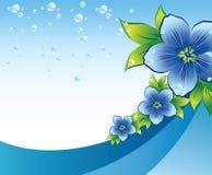 Blauwe bloemenachtergrond met dew-drop Stock Afbeeldingen