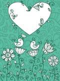 Blauwe bloemenkaart Stock Afbeeldingen