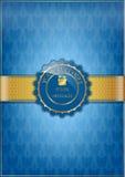 Blauwe bloementextuur en gouden lint Stock Afbeelding