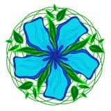 Blauwe bloemtekening Royalty-vrije Stock Afbeeldingen