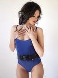Blauwe bodysuit stock fotografie